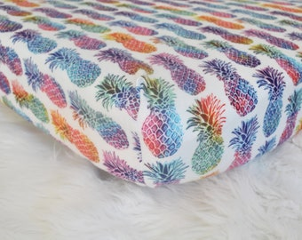 Pineapples  - Fitted Crib/Toddler Sheet - Rainbow Watercolor - Flannel Diaper Changing Pad Cover