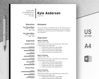 Professional Resume Template, CV, Curriculum Vitae, Template Design, Instant Download For Word, One-Page Resume, Black, Kyle
