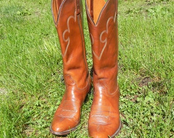 Vintage Cowgirl Boots Brown Leather by J.Chisholn Made in USA Size 61/2 M