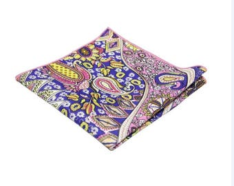 Paisley Pocket Square .Multi-COlor Print Hankies.Handkerchief .Novelty Hankies. 100% Cotton.Gifts.Wedding