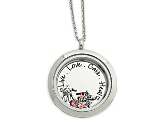 Personalized RN Nurse Necklace - Nurse Graduation Gift - Live Love Care Heal - Engraved Stainless Steel - Nurse Locket - Floating  - 1240