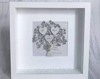 FAMILY TREE FRAME personalised wooden frame with crystals perfect christmas gift present handmade shabby chic wedding gift