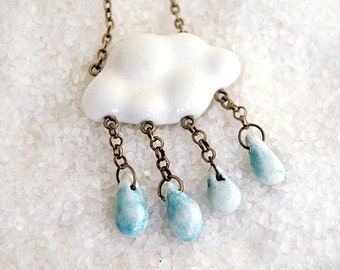 White Ceramic Cloud Pendant with Little Blue Raindrops and Bronze Chain. Ready To Ship