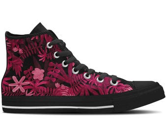 Women's High Top Sneakers, Canvas Shoes with Pink Floral Flowers Design