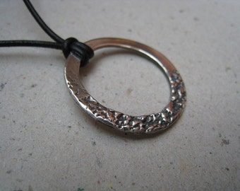 Organic Textured Hoop Oxidized Fine Silver Pendant - Hoop Pendant - Hoop Necklace