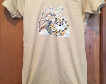 Cheshire Cat Alice In Wonderland Vintage 1970s Iron On T-Shirt