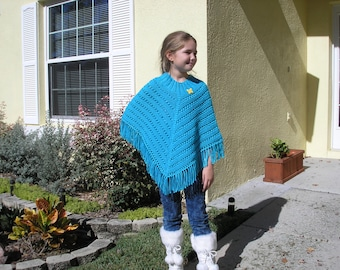 Knitted Poncho, Girls Large - Mint Blue
