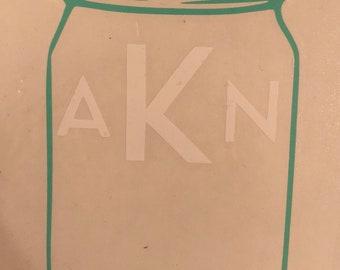 Mason jar monogram decal