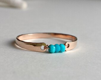 Sleeping Beauty Turquoise Ring, Rose Gold Filled Ring, Minimalist Turquoise Ring, Turquoise Stacking Ring