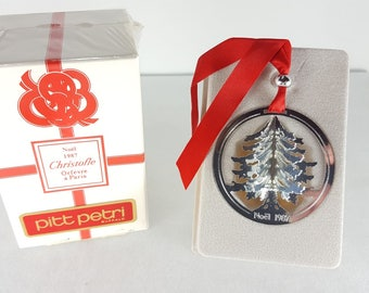 Vintage Christofle Silverplated Christmas Ornament - Christmas Tree - 1987 - Original Box - Never Out of Box or Displayed