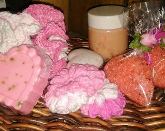 Mothers day bundle, Spa bundle, whipped body butter, rose scented bundle, crochet bath pouf, scrubbies, bath bomb, bath soak, gift set