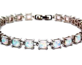 Silver Fire Opal Princess Cut 22.89ct Tennis Bracelet