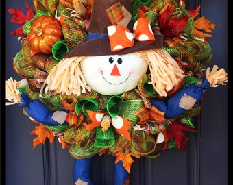 Scarecrow wreath, fall wreath, Halloween wreath, fall decor, scarecrow decor, thanksgiving wreath, Autumn wreath
