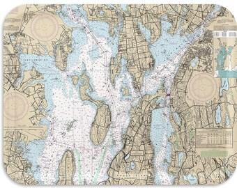 Rhode Island-Bristol Nautical Map Tray