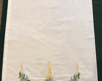 Vintage Pillowcase- hand embroidered blue and golf floral design