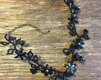 Boho Black Floral Beaded Choker Necklace