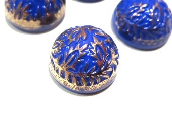 Vintage German 15mm Round Blue and Gold Glass Cabs Cabochons 4 Gold Foil