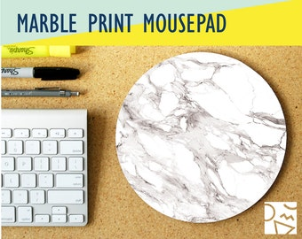 White Marble Print Round Mouse Pad w/ Custom Monogram - Office Decor, Coworker Gift - Office Desk Accessory