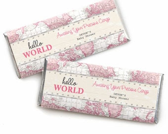 24 Precious Cargo Pink Custom Candy Bar Wrappers - Personalized Baby Shower Party Favors