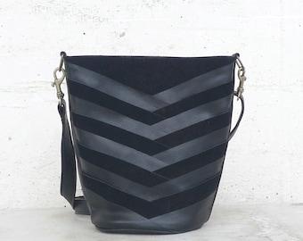 Recycled leather handbag handmade