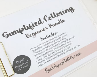 Digital Download Simplified Lettering Worksheet Bundle Upper & Lower Case w/Practice Words and Drills - Printable Lettering Practice Sheets