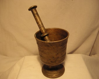 Vintage 1900's Brass Apothecary Mortar with Pestle