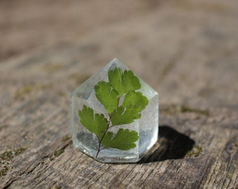 Maidenhair Fern Resin Crystal Tower // 1 3/8 inches Tall // Resin Crystal Point