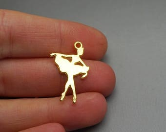 SET of 3 charms dance dancer gold music (S22)