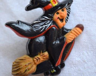 Vintage Halloween Pin Brooch - Smiling Witch on Broom - Hallmark