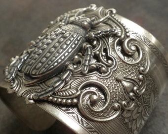 Insect Jewelry Beetle Silver Statement Cuff Bracelet