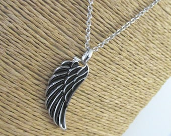 Black angel wing necklace