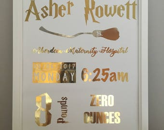 A4 Personalised Harry Potter Themed Nursery Print