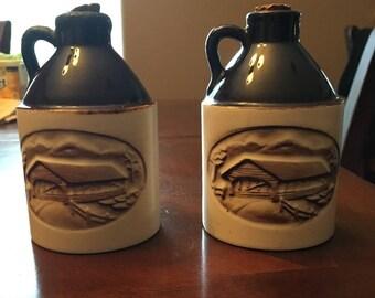 Vintage 2 Vermont Maple Syrup Mini Jugs - Earthenware Covered Bridge Scene