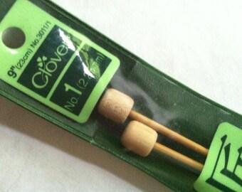 Clover Takumi Bamboo Premium Knitting Needles Single Point Size US 1 (2.25mm) 9-inch