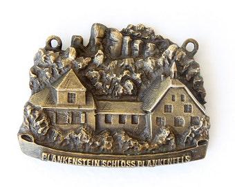 Vintage 1970's travel souvenir Metal Austria memory German medallion pendant Collectible Castle and rocks Plankenstein Schloss Plankenfels