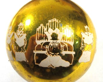 VINTAGE Glass Christmas Ornament Made in USA Gold/Yellow Choir Singing with Organ Player Christmas Tree Ornament Glass Xmas Ornament (D225)