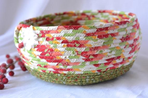 Christmas Gift Basket, Artisan Quilted Christmas Basket, Homemade Christmas Bowl, Holiday Decoration,  Handmade Coiled Basket