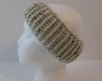 Womens Crochet Ear Warmer, Womens Crochet Headband, Womens Head Wrap, Winter Headband, Beige Brown Crochet Ear Warmer, Aran Ear Warmer