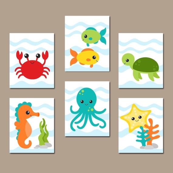 OCEAN Animals Wall Art Ocean Animal Bathroom Decor CANVAS Or