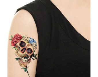 Temporary Tattoo -  Flower Candy Skull / Tattoo Flash