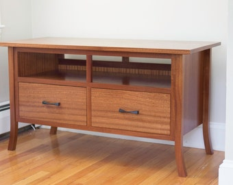 Contemporary Media Cabinet in African Sapele