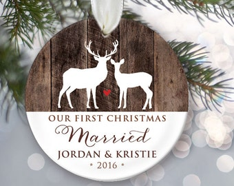 Our First Christmas Married Ornament Personalized Christmas Ornament Newlywed Ornament Faux wood Buck and Doe Rustic Deer Ornament OR498