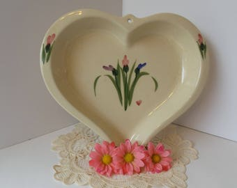 Vintage HEART Shaped STONEWARE DISH, Handpainted Hearts and Tulips Dish, Farmhouse Style, Valentine Day Decor, Stoneware Serving Dish