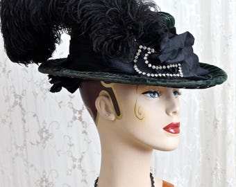 Antique Velvet Hat / 1900s Hat / Steampunk / Victorian / Edwardian / Titanic Era/ Costume /One Size