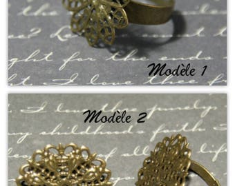 bronze 2 brackets for print color metal flower ring