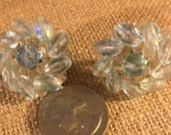Vintage Crystal Clip Earrings, Signed