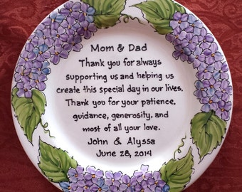 MOTHER of the BRIDE Gift Personalized to my Mom and Dad Wedding Gift for Parents Hydrangea