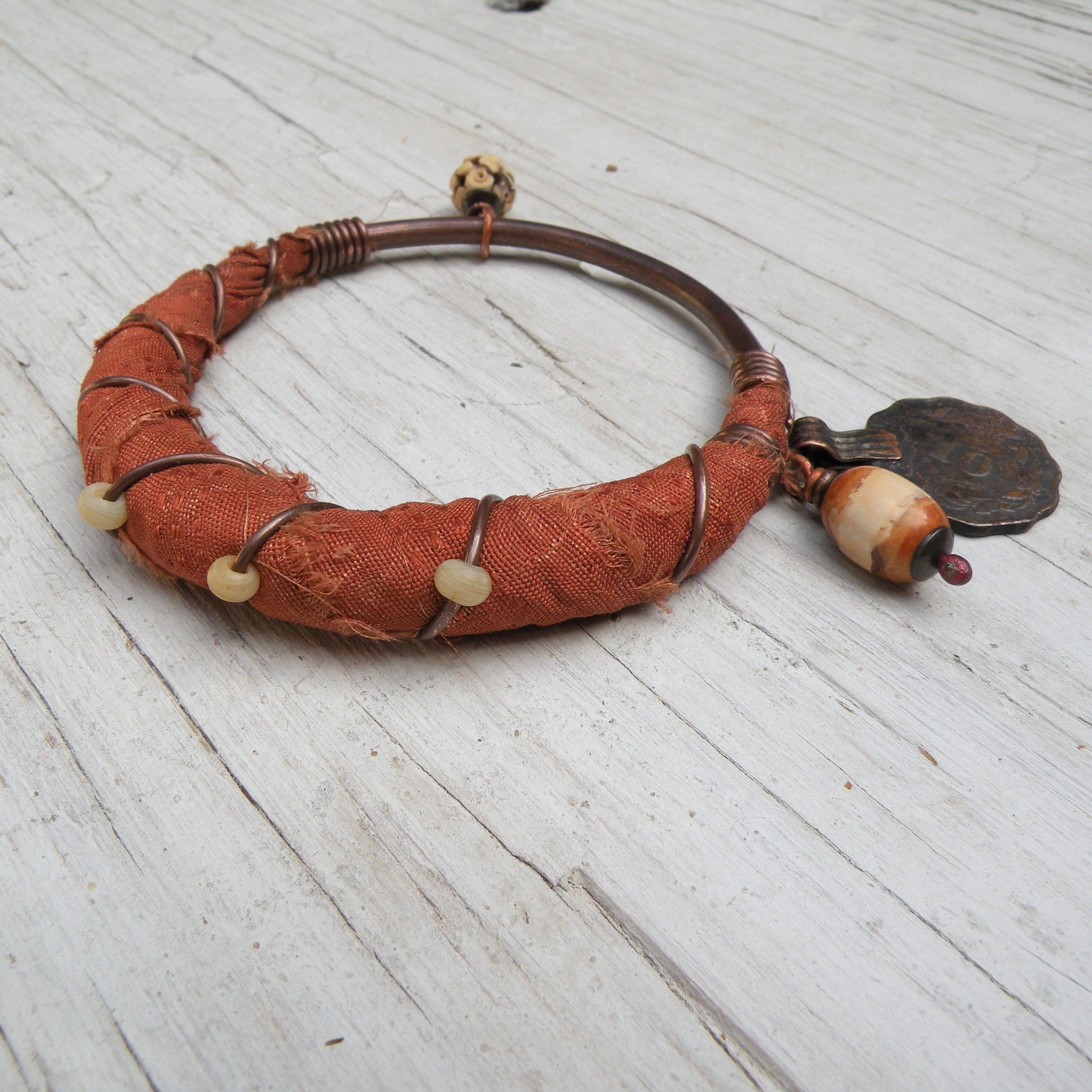 Silk Road Bangle Boho Copper Bangle Handmade Burnt Orange
