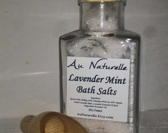 GIFT IDEA   - Lavender Mint Bath Salts  -  Burlap Gift Bag  -  Apothecary Glass Jar With Cork And Wooden Scoop