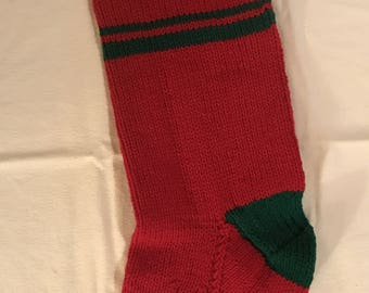 Customized Christmas Stocking - Red with Green trim